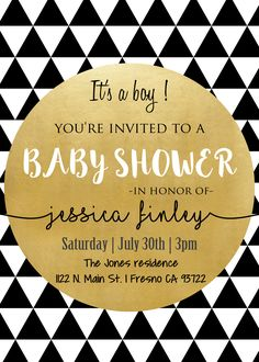 Modern Black | White | Gold Baby Shower Invitation Invite. Tribal Chic Triangles Its A Boy