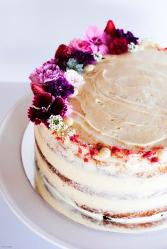 Strawberry and rhubarb layer cake with cream cheese icing, photography by The Hungry Cook