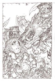 Battlechasers pencil by Joe Madureira