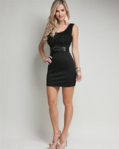 G2 Chic Textured Cocktail Belted Party Dress
