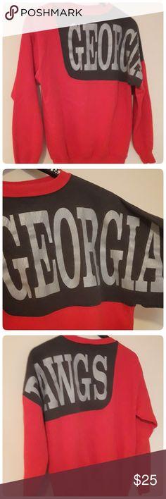 UGA Georgia Dawgs Vintage Sweatshirt Unisex Large Vintage so there is wear..however minimal Great red color and super soft GO DAWGS!! Harlco Enterprise Inc. Tops Sweatshirts & Hoodies