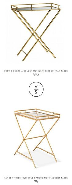 @luluandgeorgia Golden Metallic Bamboo Tray Table $523 Vs Target Threshold Gold Bamboo Motif Accent Table $85