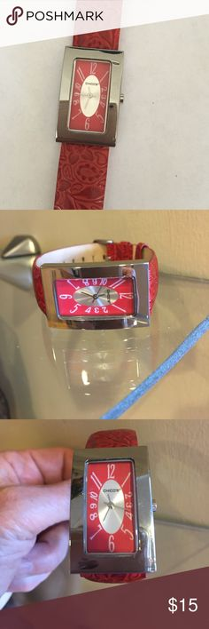 Chico's Red Leather Watch/New Battery! Like new never Worn Chico's Red Floral Embossed Leather Band Watch with fresh battery! Pretty! Chico's Accessories Watches
