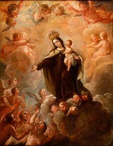 La Virgen del Carmen intercediendo por las almas del Purgatorio. Expertizado por José Luis Morales Marín, gran experto en la obra de Goya (se adjunta informe). Medidas: 107 x 83,5 cm