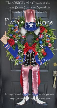READY To SHIP Patriotic Wreath July 4th by PetalsnPlumes on Etsy