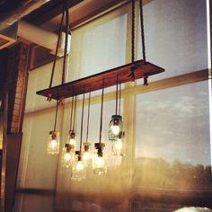 MY DIY - Barn Board & Mason Jar Kitchen Island Light Fixture