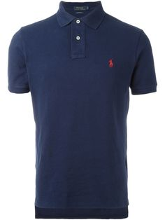 Navy blue cotton embroidered logo polo shirt from Polo Ralph Lauren featuring a classic polo collar, short sleeves and a straight hem. Ralph Lauren Boat Shoes, Ralph Lauren Store, Ralph Lauren Custom Fit, Polo Ralph Lauren, Newport, Polo Jeans, Polo Shirts, Camisa Polo, Discount Clothing