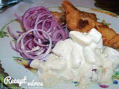 Rántott harcsa lilahagymával és majonézes krumplival My Recipes, Sushi, Cabbage, Chicken, Vegetables, Food, Diet, Essen, Cabbages