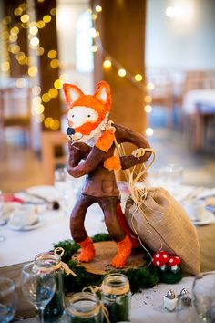 Artist: Clare Farah, Fox with Socks Paper clay and paper mâché Fantastic Mr Fox sculpture for woodland wedding centre piece.