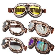 Clear Lens Helmet Steampunk Copper Motorcycle Flying Goggles Vintage Pilot Biker Multi Lens #Ediors #Aviator