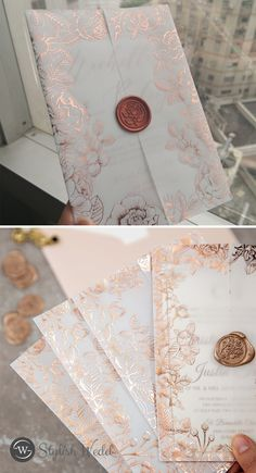 luxury rose gold foil floral vellum jacket wedding invitation with rose wax seal Wedding Invitations Online, Classic Wedding Invitations, Gold Wedding Colors, Wedding Envelopes, Rose Gold Foil, Envelope Liners, Wax Seals, Unique Weddings, Diy Wedding