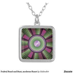 Fraktal round and multicolored, modern art square pendant necklace