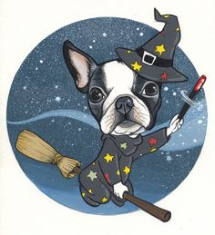 Witch Tattoo Design . Boston Terrier drawing by Jeroen Teunen. The Dog Painter.