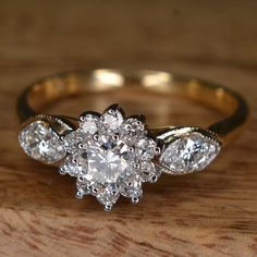 "Art Deco Inspired ""Flower"" Engagement Ring (14k Yellow Gold) on Etsy, $1,150.00 — So beautiful!"