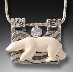 "zealandia jewelry   The Seeker,"" Silver, Rainbow Moonstone & Ancient Mammoth Ivory ..."