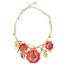 Oscar de la Renta Painted Flower Necklace