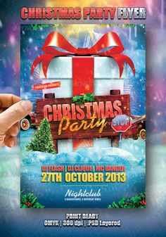Christmas Party Flyer  #GraphicRiver         A fun and cool flyer design template for your next Christmas party.  	 Print ready 4×6 with bleed 300dpi CMYK .PSD Layered, very easy to modify.  	 Well-assorted in folders.  	 This flyer used :  	 Impact system font  	 Alako  .urbanfonts /fonts/Alako.htm  	 I wish you success!                     Created: 7 December 13                    Graphics Files Included:   Photoshop PSD                   Layered:   Yes                   Minimum Adobe CS…