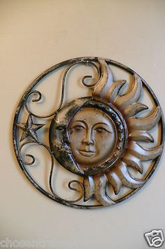 12.5 METAL SUN AND MOON  WALL PLAQUE