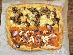 Sós crostata, sütőtökös, lilahagymás és kakukkfüves, gombás Izu, Vegetable Pizza, Feta, Vegetables, Vegetable Recipes, Vegetarian Pizza