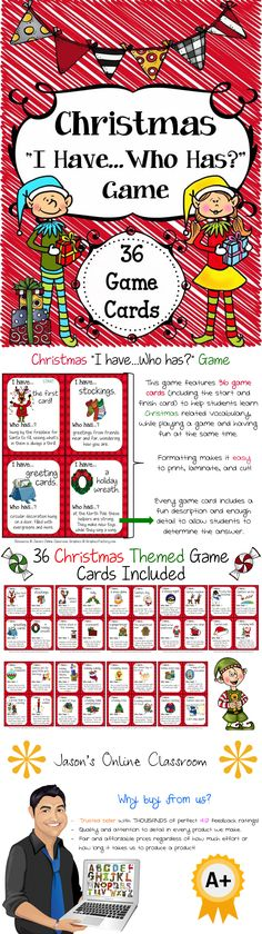 This Christmas game is big enough to be used with a class, but can also be used for small group, centers, morning warm-up, etc. This is a fun game that can be used during Christmas time to help students recognize common Christmas vocabulary while playing a fun game at the same time. There are a total of 36 game cards included in this resource. $