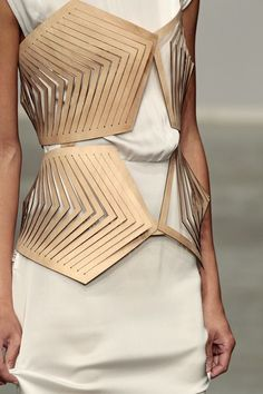Architectural Fashion - creative cuts, contrasting materials; waist feature…