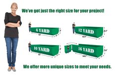 Waste Containers For Rent -  What size do I need? 27 cubic fee (0.9144 meters) = 1 cubic yard A good rule of thumb is a 6 yard container or dumpster would fit a compact size car inside and a 16 yard container would fit a large pick-up truck. NOTE:Remember, it is always better to have too much container and not enough...   http://www.123dumpsterrental.com/general/waste-containers-rent/