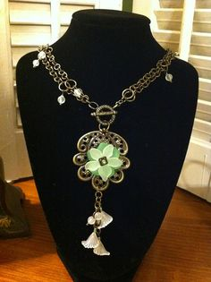Dainty Green Necklace by AppleTreeFashions on Etsy, $25.99