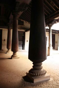 Teak columns in a typical south Indian house