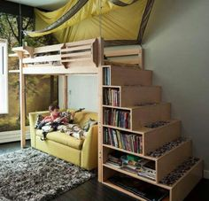buildable bed loft bed shelves/steps up to the bed, how cool!