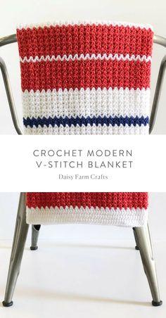 Free Pattern - Crochet Modern V-Stitch Blanket #crochet