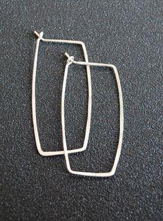 Hammered Silver Rectangular Hoop Earrings 1.5 by amyvanderels