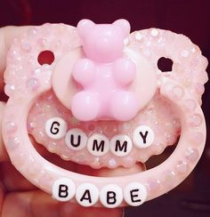 """""""Gummy Babe"""" Adult Pacifier sold by CustomABDL. Shop more products from CustomABDL on Storenvy, the home of independent small businesses all over the world. Daddys Little Princess, Daddy Dom Little Girl, Baby Princess, Daddys Girl, Little Doll, Little My, Little Things, Ddlg Pacifier, Bling Pacifier"""