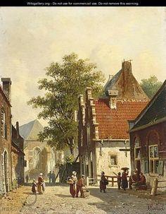(Amsterdam Haarlem) A lively Dutch village square - Dutch Art Gallery Simonis and Buunk Ede, Netherlands. Nature Paintings, Landscape Paintings, Landscapes, Dutch Golden Age, City Painting, Medieval Life, European Paintings, Dutch Painters, Dream Art