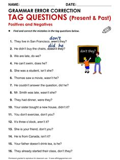 Tag question worksheet for grade 3 only for personal use. Teaching English Grammar, English Grammar Worksheets, Grammar Lessons, Grammar Exercises, English Exercises, This Or That Questions, Improve English, Learn English, English Grammar