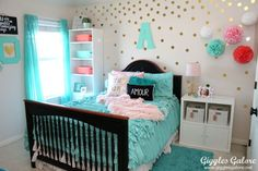 Is your little girls bedroom decor ready for an update? Transform a boring room into a personalized and extraordinary Tween Girls Bedroom she will love! - All About Decoration Girl Bedroom Walls, Teen Girl Bedrooms, Teen Bedroom, Bedroom Ideas, Bed Room, Girl Rooms, Bedroom Carpet, Blue Bedroom, Bedroom Designs
