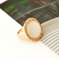 Fashion Gold Plated Opal Dome Ring