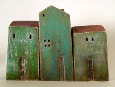 set of 3 ceramic houses  made in high fired by VesnaGusmanClayArt, $60.00