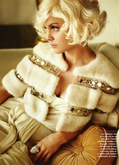 Winter white fur caplet with sequin...old Hollywood chic - Paula H
