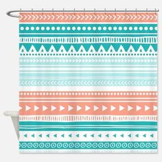 coral fabric shower curtain - Google Search