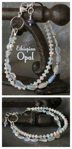 Double-strand Ethiopian Opal Bracelet ... October birthstone