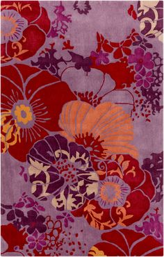 Plush and hand tufted, this rug is elegant and bright with a floral pattern in mauve, violet, burgundy, and brick. From the Swank Collection by Surya. (SWA-1008)