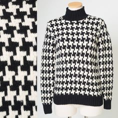 Vintage Ralph Lauren Vintage Sweater Mod Sweater Hounds Tooth Sweater Wool sweater vintage black white sweater - S
