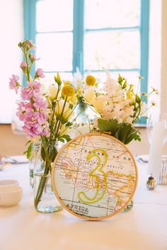Travel inspired hand embroidered DIY centre pieces Priston Mill wedding (c) babbphoto.com