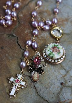 One of a Kind Necklace  14k Gold Locket with vintage element, tiny cameo hand made charm, handwired pearls