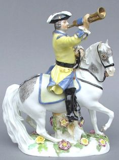 Meissen Model: 2165 | Saxon soldier with trumpet on a horse, designed by Johann Joachim Kaendler, circa 1750