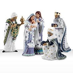 Silent Night Nativity Set-- I love this!! It is using the Polish Pottery patterns how pretty is this?