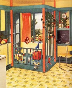 Vintage Retro kitchen with built in playpen area! Photo Vintage, Vintage Room, Vintage Decor, Vintage Homes, Vintage Bags, 1950s Kitchen, Vintage Kitchen, Retro Kitchens, Kitsch