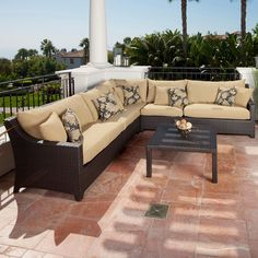 RST Brands Delano 6 Piece Corner Sectional Sofa and Coffee Table Set | from hayneedle.com