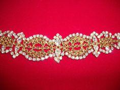 Hattie Carnegie Gold Rhinestone Bracelet Earrings Set Mint | eBay