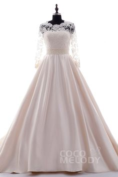 Impressive A-Line Chapel Train Satin Pale Pink Long Sleeve Zipper with Button Wedding Dress Beading h2ls0108